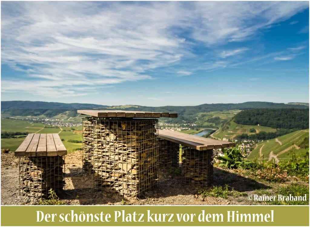 Frühstück auf der Wetterstation in Klüsserath-Moselsteig-Seitensprung-Sagenweg-Ruhebank-Aussicht
